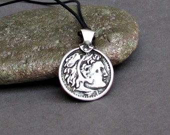 Ancient Greek Coin Mens Necklace, Pendant Great Alexander Silver Leather Necklace Pendant, Mens Gift, Adjustable