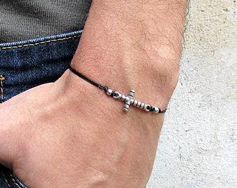 Cross, Men's Bracelet, Silver cross Charm, Cord Bracelet For Men, Gift for him, Bestfriend Bracelet, mens jewelry, Adjustable