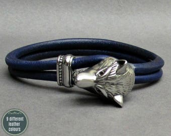 Wolf Head Leather Bracelet, Stainless Steel Mens Leather bracelet Cuff Gift For Men Customized On Your WristFathers day gift