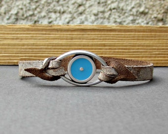 Evil Eye Bracelet Mens Leather Bracelet Cuff  Customized On Your Wrist