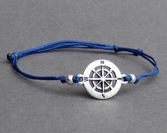 Compass, Men's Bracelet, Silver Compass Charm, Cord Bracelet For Men, Gift for him, Bestfriend Bracelet, mens jewelry, Adjustable