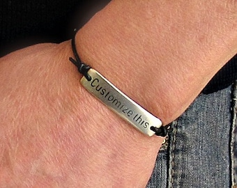Mens Personalized Leather Bracelet, Custom Mens Unisex, Engraved Bracelet, Gift For Men Women, Boyfriend Gift, Adjustable