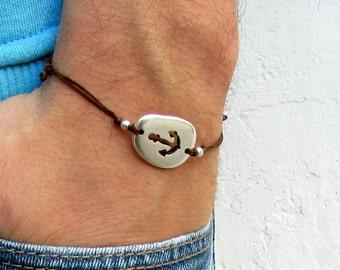 Anchor cord bracelet, men's bracelet, Silver Pebble, bracelet for men, gift for him, mens jewelry, adjustable