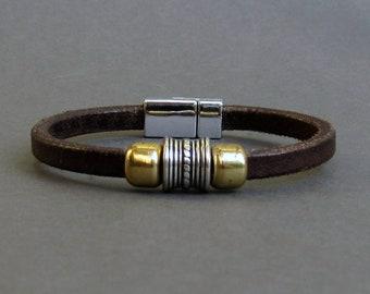 Rustic Mens Bracelet, Mens Leather Bracelet, Leather Mens Bracelet, Boyfriend Gift, Silver Plated Customized On Your Wrist