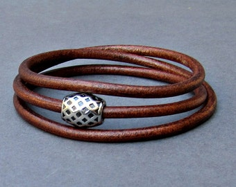 Wrap Bracelet, Leather Mens Bracelet, Boyfriend Gift, Husband Gift, Customized To Your Wrist