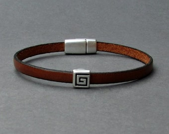 Silver Meander Mens Leather Bracelet Cuff Boyfriend Gift Customized On Your Wrist