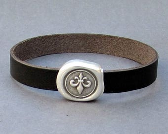 Fleur De Lis Leather Bracelet Cuff Leather Mens Bracelet Cuff Silver Plating  Customized On Your Wrist Fathers day gift
