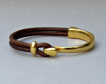 Gold, Unisex, Leather Bracelet,Cuff, Black, Brown Leather Unisex Bracelet Bangle, Gold 24k Plated Customized On Your Wrist
