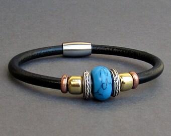 Turquoise Leather Bracelet For Men Women Beaded Gemstone Bracelet Silver Bracelet Boyfriend Gift Mens Jewelry customized to your wrist
