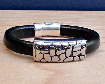 Graduation Gift, Stainless Steel Mens Leather Bracelet Cuff Boyfriend Gift, Silver Plated Magnetic Clasp Customized On Your Wrist