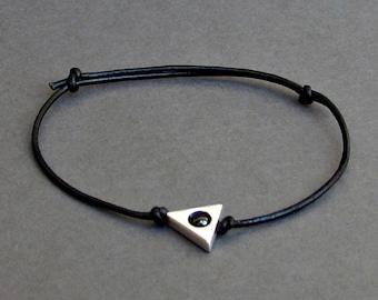 Triangle Minimalist Cord Bracelet, Silver Geometric Leather Bracelet For Men, Gift for him, Bestfriend Bracelet, mens jewelry, Adjustable