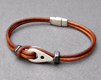 Sailor Bracelet Nautical Mens Leather Bracelet, Dainty Bracelet, Antique Silver Plated, Customized On Your Wrist