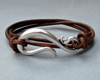 Silver Hook Mens Leather Bracelet Cuff Mens Nautical Wrap Bracelet Adjustable