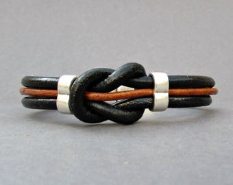 Nautical Knot Mens Leather Bracelet, Black Brown Natural Leather Mens Bracelet, Silver Plated Customized On Your WristFathers day gift