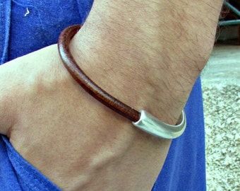 Mens Leather Bracelet Mens Brown Black Leather bracelet Cuff Silver Plating Magnetic Clasp Customized On Your Wrist