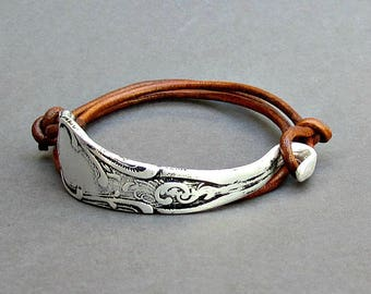 Antique Silver Fork Bracelet, Silverware Jewelry,  Eco Friendly Spoon Bracelet, Wrap Leather Bracelet, Adjustable