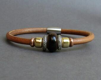 Tigers Eye Leather Bracelet For Men Women Beaded Gemstone Bracelet Silver Bracelet Boyfriend Gift Mens Jewelry customized to your wrist