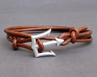NEW DESIGN Trident Leather Bracelet Mens Nautical Wrap Bracelet Unisex Leather Bracelet Adjustable w5
