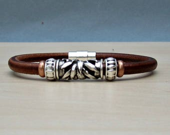 Mens Beaded Bracelet, Mens Leather Bracelet,  Bracelet For Him, Antique Silver Plated, Customized On Your WristFathers day gift