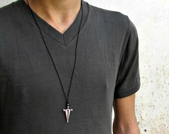 Ancient Greek Arrowhead Mens Necklace Pendant, Mens Silver Rustic Leather Necklace, Best Friend, Boyfriend Gift Adjustable