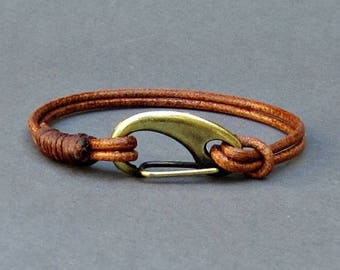 Mens Leather Shackle Bracelet Mens Bronze Nautical Carabiner Leather bracelet Cuff Customized On Your Wrist Fathers day gift