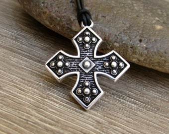 NEW DESIGN Byzantine Cross Mens Necklace, Pendant, Unisex Silver Leather Necklace Pendant, Mens Gift, Adjustable
