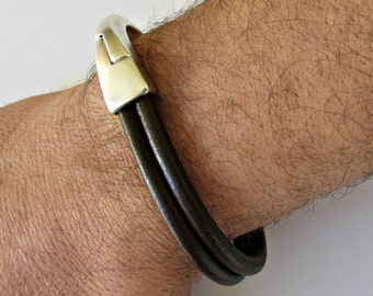 Leather Mens Bracelet Mens Leather Bracelet Cuff Brown Black Silver Plated Magnetic Clasp Customized On Your WristFathers day gift