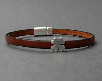 Four Leaf Clover Mens Leather Bracelet Cuff Boyfriend Gift Customized On Your Wrist