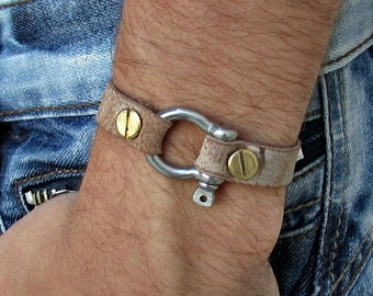 Mens Leather Shackle Bracelet Mens Nautical Key Leather bracelet Cuff  Customized On Your Wrist Fathers day gift