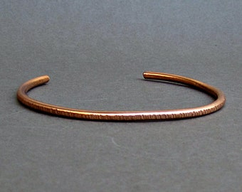 Men's Thin Hammered Copper Cuff Bracelet Unisex Bracelet  Boyfriend Gift Width 3mm Gift For Him  Customized On Your Wrist