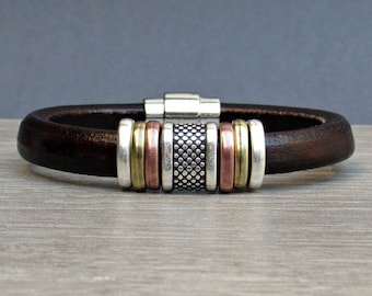 Men's Leather Bracelet, Silver Leather Mens Bracelet Cuff, Bracelet For Men, Silver Plating Magnetic Clasp Customized On Your Wrist