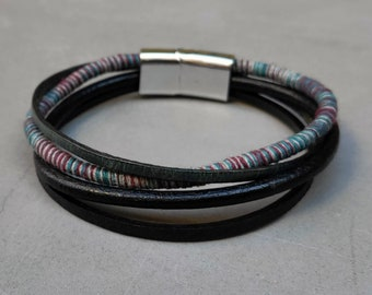 Mens Boho Leather Bracelet Cuff Unisex Multicolor Multistrand Bracelet Mens Bracelet Womens bracelet Customized To Your Wrist