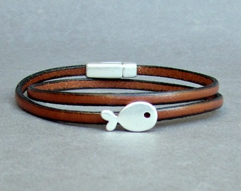 Double Wrap Leather Bracelet,Tiny Fish Bracelet, Unisex Bracelet, Boyfriend Gift, Gift For Him, Wide 3 mm Customized On Your Wrist
