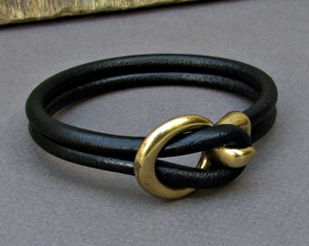 Mens Leather Bracelet Leather Men Bracelet Cuff  Brown Black Antique bronze Oxidized, Customized On Your Wrist