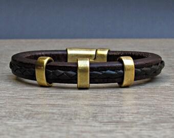 NEW DESIGN Mens Leather Bracelet, Bracelet For Men, Boyfriend Gift, Magnetic Clasp Customized On Your Wrist