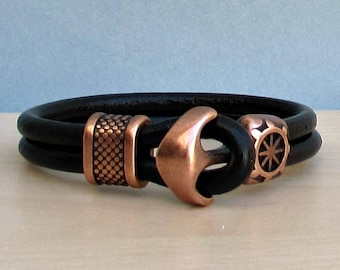 Anchor Bracelet Mens Leather bracelet Cuff Nautical Sailing Bracelet Customized On Your Wrist