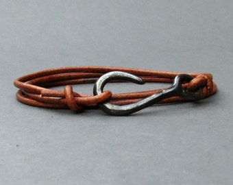 Fish Hook Bracelet For Men Nautical Anchor wrap Mens Bracelet Arrowhead Leather Bracelet Adjustable