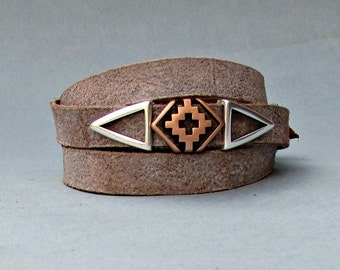 Gothic Mens Leather Wrap Bracelet Cuff, Cross Unisex Bracelet, Adjustable to your wrist