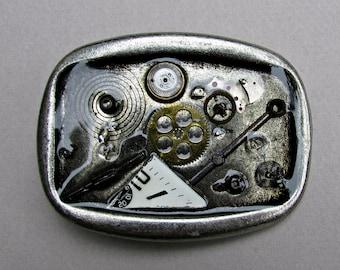 Belt ,Buckle, Men, Women, steampunk, rectangle round edges, antique silver, plating, handmade, watch parts, 5,7cm x 7,6cm , industrial,