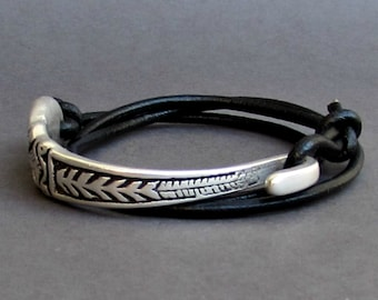 Silverware Jewelry, Silver Fork Bracelet, Eco Friendly Spoon Bracelet, Wrap Leather Bracelet, Adjustable