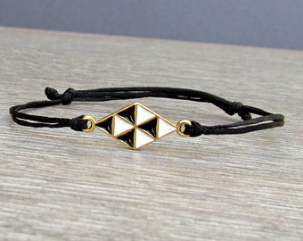 Geometric Unisex Bracelet, Gold Rhombus , Cord Bracelet For Men Women, Gift for Him Her, Bestfriend Bracelet, mens jewelry, Adjustable