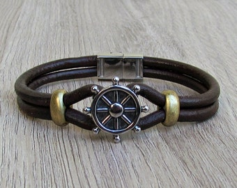 Nautical Wheel Bracelet Mens Leather Bracelet, Leather Bracelet For Men, For Husband,  For Boyfriend, For Him, Boyfriend Gift, Mens Gift