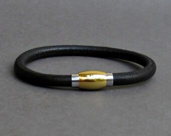 Gold Mens Leather Bracelet, Silver Leather Bracelet, For Men, For Husband,  For Boyfriend, For Him, Boyfriend Gift, Mens Gift