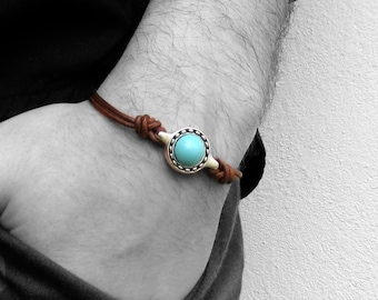 Gemstone Leather Bracelet, Unisex Leather Cord Bracelet His And Hers Silver Bracelet Adjustable