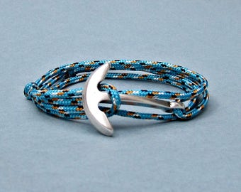 Nautical Anchor Bracelet Mens   Fish Hook Paracord wrap Bracelet Arrowhead Leather Bracelet Adjustable