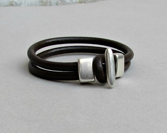 Mens Leather Bracelet Leather Men Bracelet Cuff  Brown Black Antique Silver Plated Customized On Your Wrist