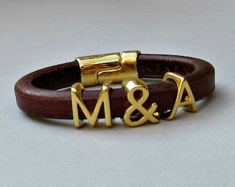 Two Initials Bracelet, Personalized Initial Bracelet, Gold Monograms Leather Bangle Bracelet, Customized on your wrist
