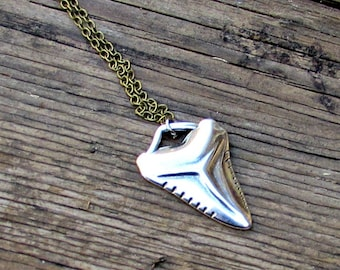 Men's Necklace Sark Tooth Men's Long Necklace Men's Silver Necklace Mens Jewelry