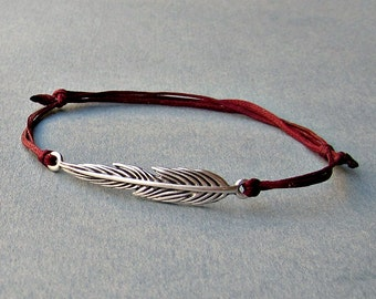 Long Feather, Unisex Bracelet, Silver Feather Charm, Cord Bracelet For Men, Gift for him, her, Unisex Jewelry, Adjustable