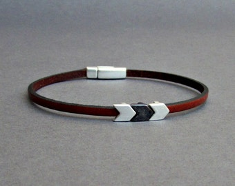 Arrowhead Bracelet Mens Tiny Leather Bracelet Spear Dainty Bracelet Boyfriend Gift Customized On Your Wrist width 3mmFathers day gift